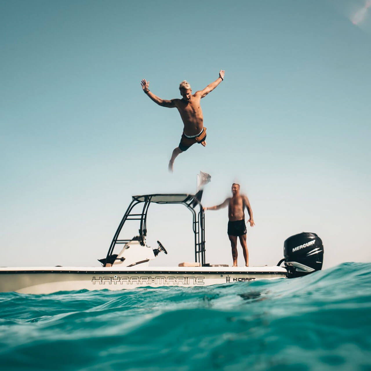 Diving into the good times on a boat